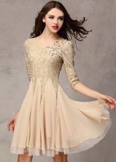 Star Style Round Neck Chiffon Dress Solid Khaki - USD $29.49