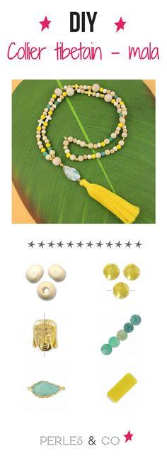 Apprenez pas à pas avec ce tutoriel comment réaliser un collier tibetain également appelé collier mala. Composé de perles en bois, de perles gemmes, d'un intercalaire druzy et d'un grand pompon il sera parfait pour accompagné vos tenues d'été. Grosse tendance du moment !