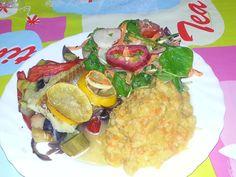 Logi oder Low Carb  Geschmorter Fisch mit Gemüse und Rübenpüree