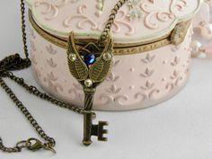 Steampunk Key Pendant with Swarovski Crystals, Key Necklace, Skeleton Key, Steampunk Pendant, Gothic Key Necklace, Angel Wings Key by KeyofMyHope on Etsy