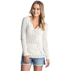 Roxy Women's Warm Heart Sweater featuring polyvore, fashion, clothing, tops, sweaters, sea spray, white poncho, white hooded sweater, white top, marled sweater and roxy tops