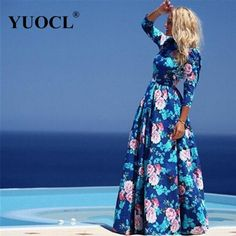 YUOCL Hot Sale vestidos 2016 New Fashion Women Summer Dress Print Long Maxi Dresses Beach Dress Long Sleeve Bohemian Dress