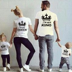 Summer Family Matching Outfits Matching Father Mother Daughter Son Clothes Cotton Short Sleeve T-shirt King Queen Family Look Family Tees, Cute Family, Family Family, Couple Outfits, Matching Family Outfits, Matching Clothes, Twin Baby Outfits, T Shirt King Queen, King Queen Princess Shirts