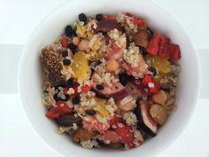 Roasted capsicum, mixed bean, fresh and dried figs, orange, tuna, artichoke, currants and quinoa salad