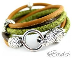 crocodile bracelet, 925 sterling silver and leather