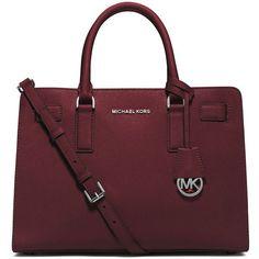 MICHAEL Michael Kors Dillon East-West Saffiano Satchel Bag ($298) ❤ liked on Polyvore featuring bags, handbags, merlot, satchel style purse, satchel bag, circle purse, zipper purse and red bag #Satchels