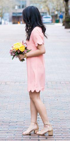 Cutest scallop edge clothes, scallop edge dress, spring style, petite fashion blog