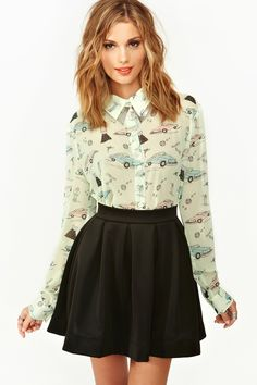 Ha - I pretty much wore this exact outfit this week. School appropriate, no? Sandy Blouse, $38.