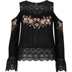 Black embroidered cold shoulder top $34.00