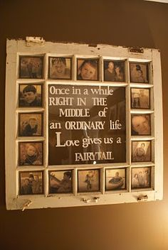 Old window frame as a photo collage frame.