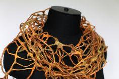 by Marina Shkolnik     - Felted Scarf Net Custom    Mulberry silk, extra fine Australian merino wool.