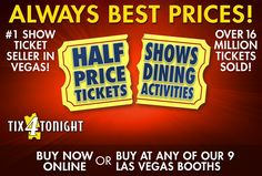 offers Las Vegas shows, attractions, and restaurants for less. The leader in Las Vegas discounts, we offer half price tickets. Las Vegas Tips, Las Vegas Shows, Las Vegas Discounts, Las Vegas Strip Map, Las Vegas Buffet, Comedy Tickets, Along The Way, Price Tickets