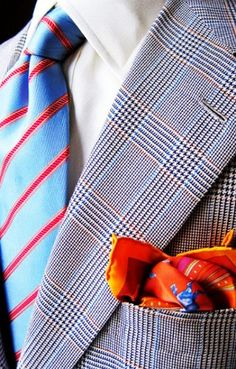 Could orange be my color? Orange handkerchief accent (minus the tie) for women.