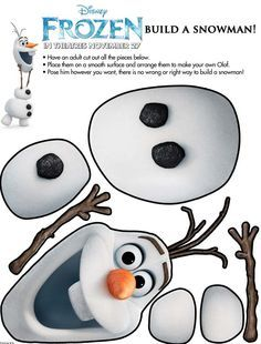 "Disney Frozen Olaf Build a Snowman Printable (great for party games like ""Pin the nose on Olaf"") #Frozen #olaf"