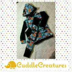 Hoodie set! Size 2t for the pants, 1-4 yr grow with you pants. Www.facebook.com/cuddlecreatures