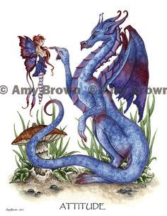 Dragon and fairy 85x11 PRINT by Amy Brown Attitude by AmyBrownArt. $14.00, via Etsy.