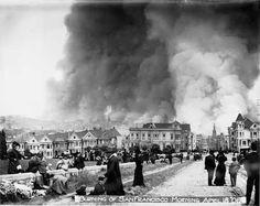 She's burning down. Burning of San Francisco from Alamo Square, 18 April 1906