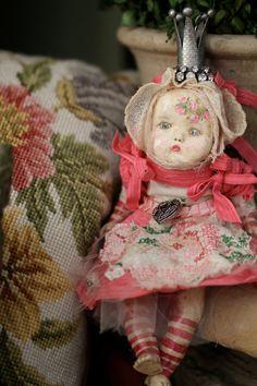 """Art/Altered Doll OOAK """"Queen Beatrice"""" Handmade Antique Looking"""