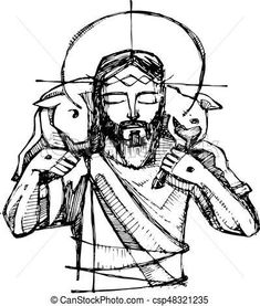 Hand drawn vector illustration or drawing of Jesus Christ and a sheep Catholic Art, Religious Art, Sheep Tattoo, Faith Crafts, Jesus Painting, Bible Pictures, Jesus Art, Spirited Art, The Good Shepherd