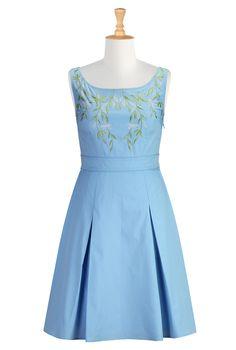 Placid Blue Poplin Dresses, Leafy Vine Embellished Dresses Shop womens designer clothing - Wrap Dresses, Black Wrap Dresses, Solid Hue Wrap ...