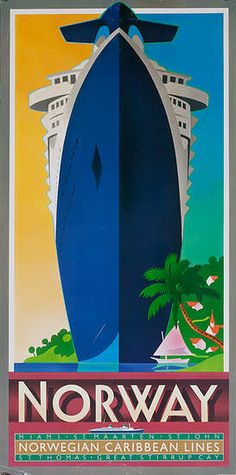 Norwegian Caribbean Lines Norway Cruise Poster. 1980s