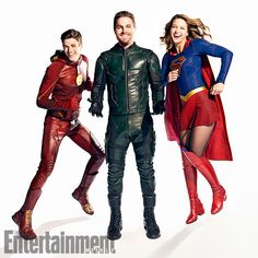 All In The Family: Inside DC's Ultimate Superhero Crossover | Grant Gustin (The Flash), Stephen Amell (Green Arrow), and Melissa Benoist (Supergirl) | EW.com