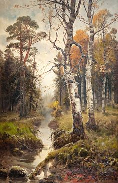 Autumn Landscape by Simeon Fedorovich Fedorov Watercolor Trees, Watercolor Landscape, Landscape Art, Landscape Paintings, Woodland Art, Russian Painting, Autumn Scenes, Traditional Paintings, Nature Paintings