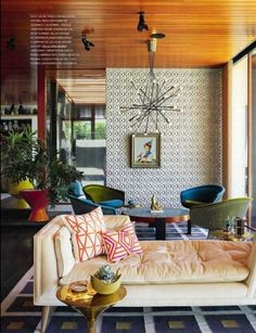 Mid Century Modern living room featured in Spain Architectural Digest designed…