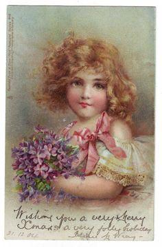 Frances Brundage-girl with violets