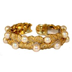 fdb095629 Buccellati Yellow Gold and Pearl Bangle Bracelet - Jewelry - Catalog - NY  Showplace Antique and