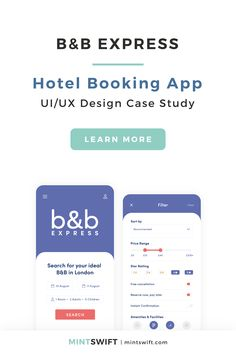 B&B Express - Hotel Booking App UI/UX Case Study | The Design Thinking Methodology process of UI & UX Design for a London Hotel (Bed & breakfast) booking app - B&B Express. UI/UX mobile app project including User Experience Design, User Research, Branding, User Interface Design. The process consisted of User Persona, User Flow, Low Fidelity Wireframes, UI components. Read more at mintswift.com #mintswift by Adrianna Leszczynska #uiux #ui #ux #mobile #app #mintswiftportfolio #mintswiftdesign Blog Website Design, Portfolio Website Design, Wordpress Website Design, User Interface Design, Ui Ux Design, Graphic Design, Hotel Booking App, Website Tutorial, Collateral Design