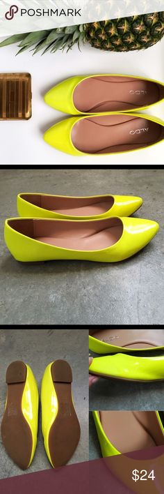 ✨Chic Neon ALDO Flats✨ Item description: Super fun summery flats, adorable worn with maxi skirts and distressed denim!!   Fit: true to size  Condition: only worn 1-2 times  Major defects/damage: small red scuff on inside right shoe, a few dents on top left shoe ***see last photo  I bundle, I'd be happy to put together a personalized listing for you! 15% off 2 items 20% off 3 or more items  Sorry, no trades. ALDO Shoes Flats & Loafers