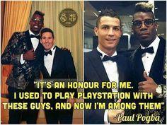 To dla mnie zaszczyt • Kiedyś grałem nimi na playstation, teraz jestem wśród nich • Paul Pogba o Cristiano Ronaldo i Lionelu Messim >> #pogba #quotes #messi #ronaldo #football #soccer #sports #pilkanozna