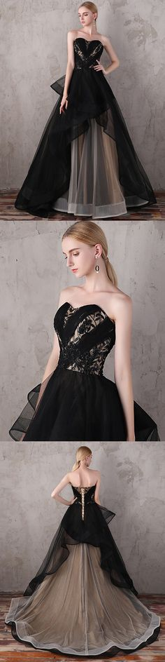 A-line Strapless Sweep/Brush Train Sleeveless Tulle Prom Dress/Evening Dress # VB904 #black #lace #fashion #long #prom #popular #A-line #evening