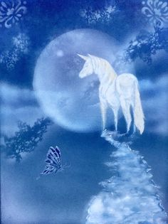 Moonlight Unicorn in Acrylic Unicorn Painting, Unicorn Tattoos, Moonlight, Whale, Wallpapers, Artist, Animals, Whales, Animales