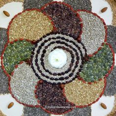 Using my own lifestyle as a source of inspiration, at some point I found myself making huge mandalas out of (super)foods and/or other natural materials. In these mandalas, my fascination for pure ingredients fuses with my passion for sacred geometry. Seed Craft, Flower Rangoli, Organic Superfoods, Beautiful Rangoli Designs, Diwali Decorations, Creative Food, Organic Recipes, Fall Crafts, Food Art