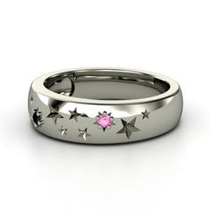 Pink sapphire, black onyx