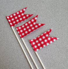 Cake toppers Red Gingham check Summer Cookouts decorations 4th of July parties, backyard barbecues country wedding