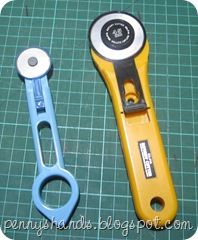 Trick to sharpening rotary cutters, scissors, punches, dies, paper cutters. Haven't tried yet but most commenters say it works.  http://pennyshands.blogspot.com/2011/03/how-to-sharpen-your-rotary-cutter-blade.html Also see for Tips: http://prayersncrafts.blogspot.com/2011/06/keeping-those-scissors-sharp-easy-way.html