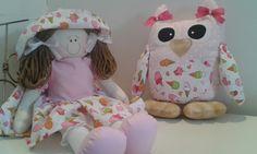 Valor do kit,boneca com corujinha tecidos combinando. <br>Cores do tecido à combinar no ato da compra.