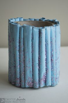 """Pencil / pen holder made from REUSED materials - cardboard tube, paper and a little glitter  <a href=""""https://www.facebook.com/creativejunkchch/"""">Creative Junk facebook</a>   #recyclereuserethink #recycle #reuse #rethink #cardboard_tube #paper"""