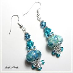 Aqua Sea Mist LAMPWORK EARRINGS by SashaGirls on Etsy, $17.50