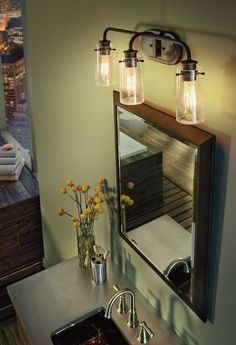 Kichler's Braelyn collection bathroom fixtures add a touch of elegance to your home. It is designed to cast a soft ambient light over a wide area.