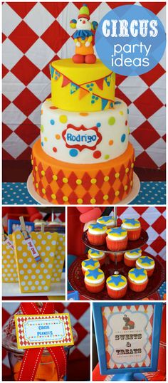 A classic carnival boy birthday party with circus peanuts, cupcakes and popcorn! See more party planning ideas at CatchMyParty.com!