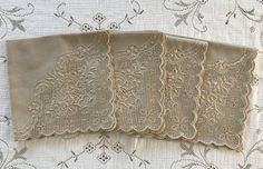 Vintage Linen Napkins Beige With Appenzell by VintageLinenGallery