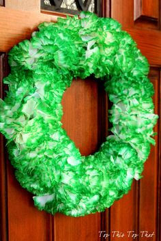 St. Patricks Day Wreath using Dollar Store carnations. Super easy and cute!
