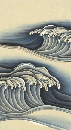 How To Move Forward, Japanese Waves, Blue Palette, Wave Design, White Vinyl, Hand Painted, Art, Art Background, Kunst