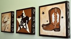 Lil Buckaroo Cowboy/Cowgirl Painting Set of Three 10x10s