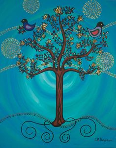 Tree Of Life In Blue Painting