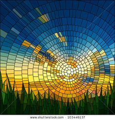 Vector illustration of sunset in blue sky in grass stained glass window. by Vertyr, via ShutterStock